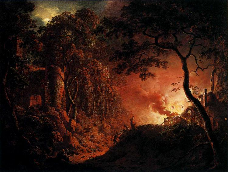 A Cottage on Fire - Joseph Wright of Derby