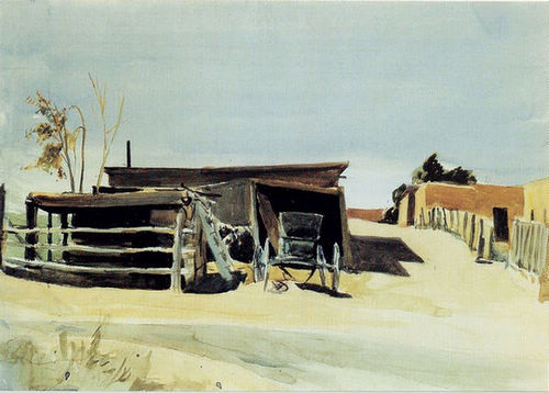 Adobes and Shed New Mexico - Edward Hopper