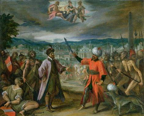 Allegory of the Turkish Wars - The Declaration of War at Constantinople - Hans Von Aachen