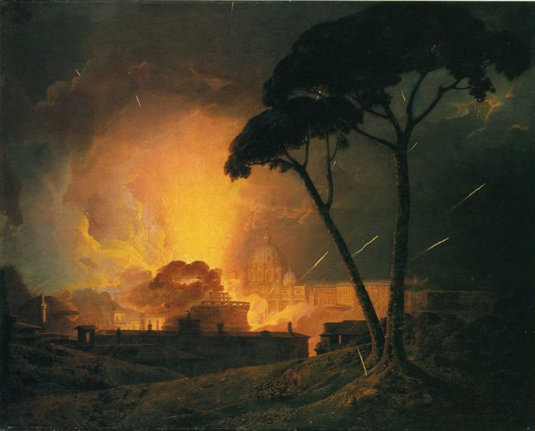 The Annual Girandola at the Castle of St. Angelo, Rome - Joseph Wright of Derby