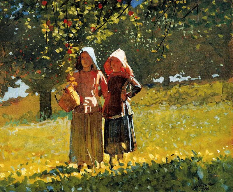 Apple Picking (Two Girls in Sunbonnets) - Winslow Homer
