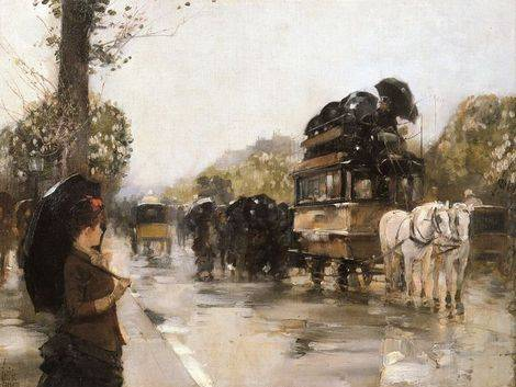 April Showers, Champs Elysees, Paris - Childe Hassam