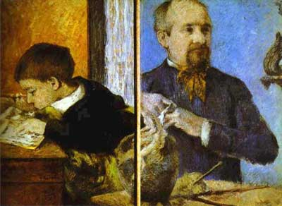 Aube the Sculptor and His Son - Paul Gauguin