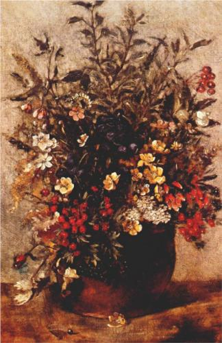 Autumn Berries and Flowers in Brown Pot - John Constable