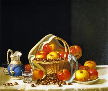 Basket of Apples and Chestnuts on a Table - John F Francis