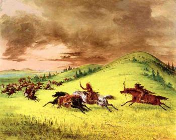 Battle between Sioux and Sauk and Fox - George Catlin