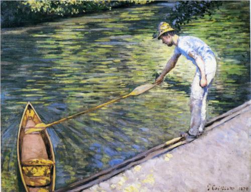 Boater Pulling on His Perissoire - Gustave Caillebotte