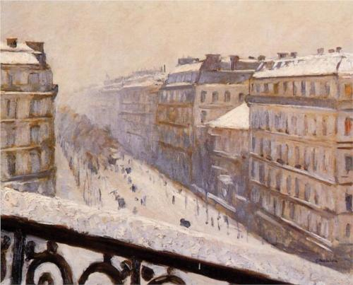 Boulevard Haussmann with Snow - Gustave Caillebotte