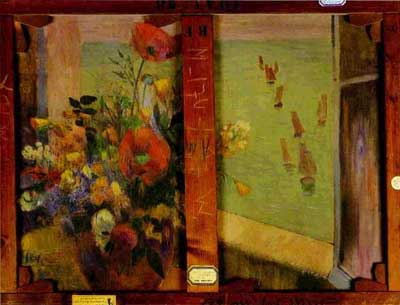 Bouquet of Flowers with a Window Open to the Sea - Paul Gauguin