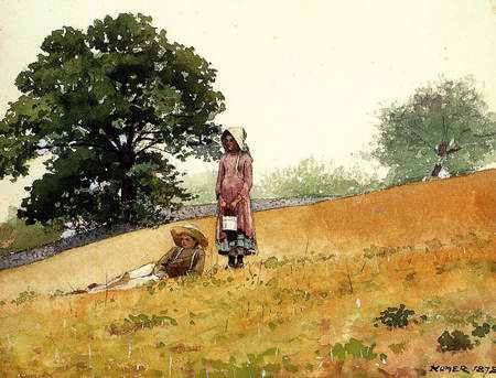 Boy and Girl on a Hillside - Winslow Homer