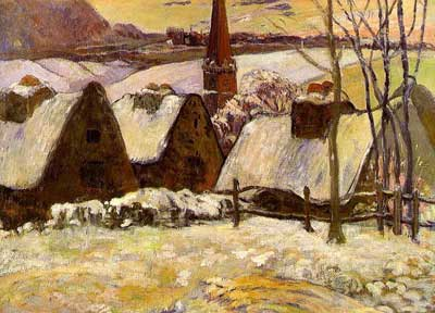 Breton Village in Snow - Paul Gauguin