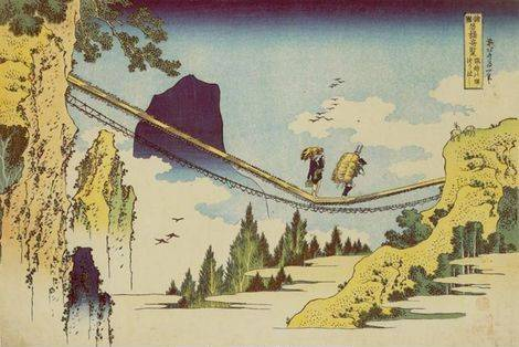 Bridge on the Border of Hida and Etchu - Katsushika Hokusai