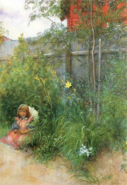 Britta in the Flowerbed - Carl Larsson