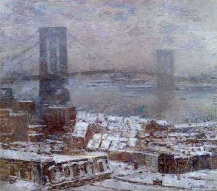 Brooklyn Bridge in Winter - Childe Hassam