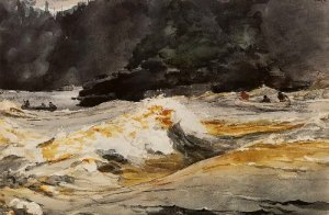 Canoes in Rapids, Saguenay River - Winslow Homer