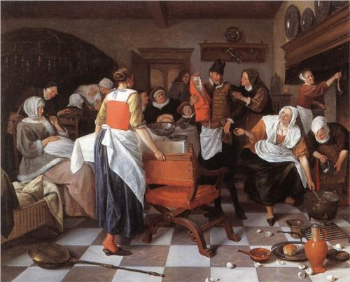 Celebrating the Birth - Jan Steen