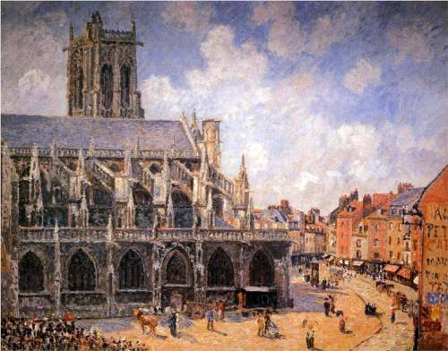 Church of St Jacques in Dieppe, Morning Sun - Camille Pissarro