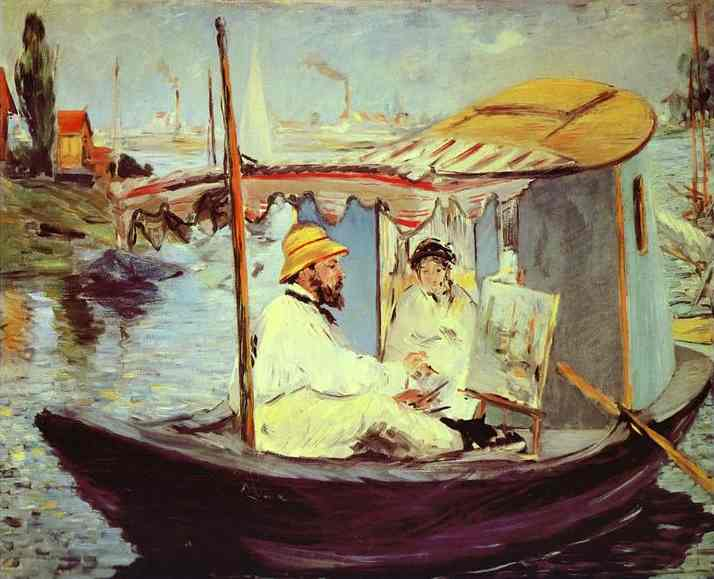 Claude Monet Painting on His Studio Boat - Edouard Manet