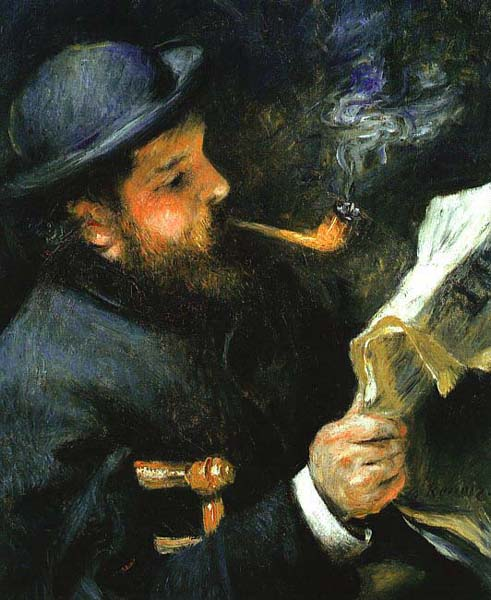 Claude Monet Reading - Pierre Auguste Renoir