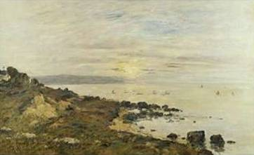 Cliffs at Benerville, Sunset - Eugene Boudin