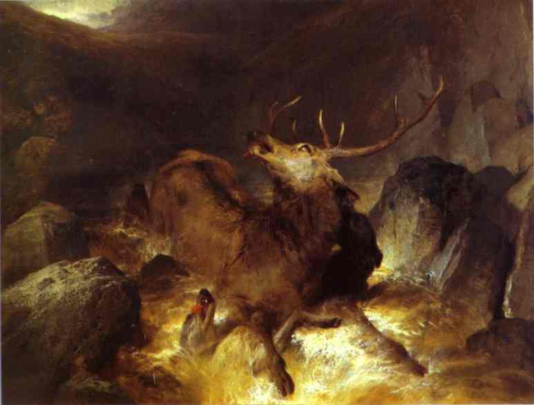 Deer and Deerhounds in a Mountain Torrent - Edwin Henry Landseer