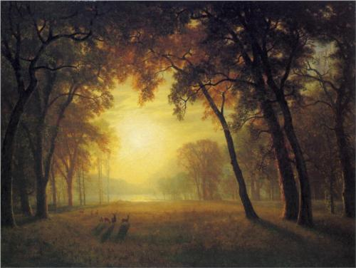 Deer in a Clearing - Albert Bierstadt