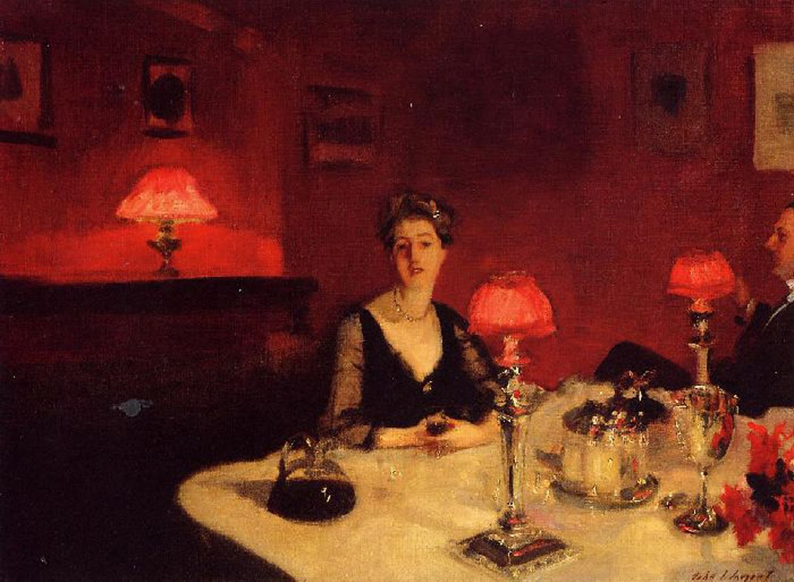 Dinner Table at Night - John Singer Sargent