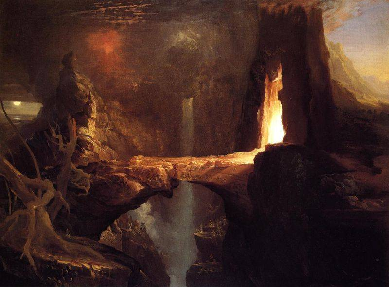 Expulsion Moon and Firelight - Thomas Cole