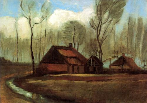 Farmhouses Among Trees - Vincent Van Gogh