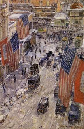 Flags on Fifty-Seventh Street Winter 1918 - Childe Hassam