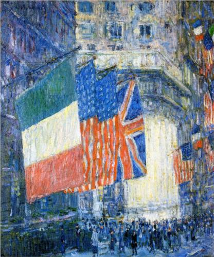 Flags on the Waldorf (Avenue of the Allies) - Childe Hassam