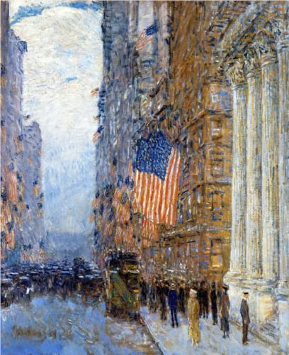 Flags on the Waldorf - Childe Hassam