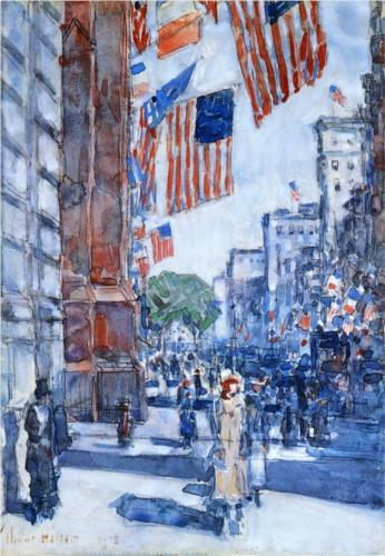 Flags, Fifth Avenue - Childe Hassam