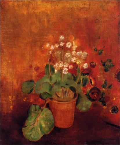 Flowers in a Pot on a Red Background - Odilon Redon