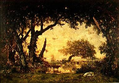 Forest at Fontainebleau Setting Sun - Theodore Rousseau