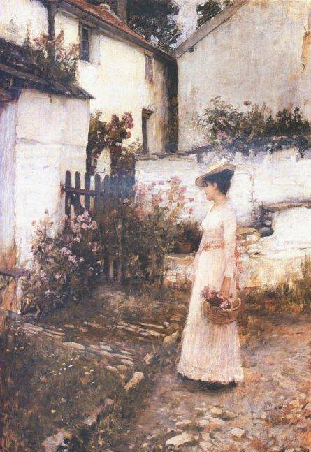 Gathering Summer Flowers in a Devonshire Garden - John William Waterhouse