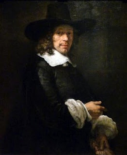 Gentleman with a Tall Hat and Gloves - Rembrandt van Rijn