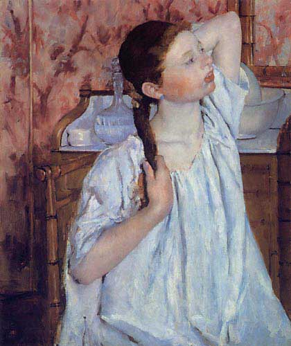 Girl Arranging Her Hair - Mary Cassatt