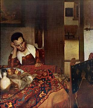Girl Asleep at a Table - Jan Vermeer van Delft