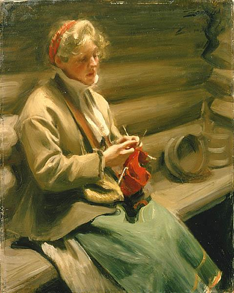 Girl Knitting - Anders Zorn