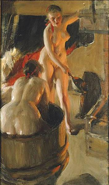 Girls from Dalarna Having a Bath - Anders Zorn