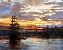 Harbor and Masted Ship Albert Bierstadt