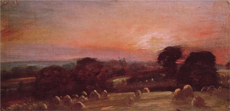 Hayfield near East Bergholt at Sunset - John Constable