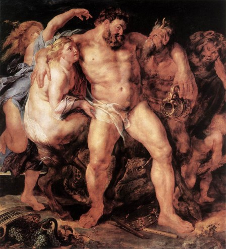 Hercules Drunk, Being Led Away By a Nymph and a Satyr - Peter Paul Rubens