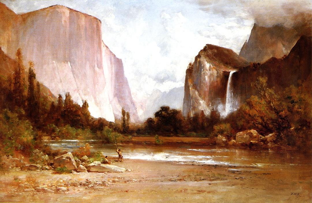 Indians Fishing in Yosemite - Thomas Hill