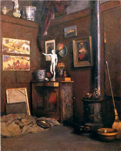 Interior of a Studio with Stove - Gustave Caillebotte