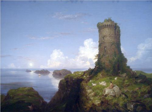 Italian Coast Scene with Ruined Tower - Thomas Cole