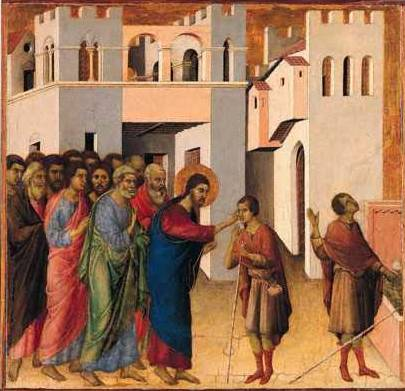 Jesus opens the Eyes of a Man born Blind - Duccio di Buoninsegna