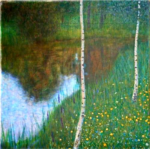Lakeside with Birch Trees - Gustav Klimt