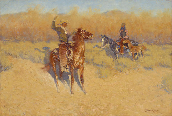 Long Horn Cattle Sign - Frederic Remington